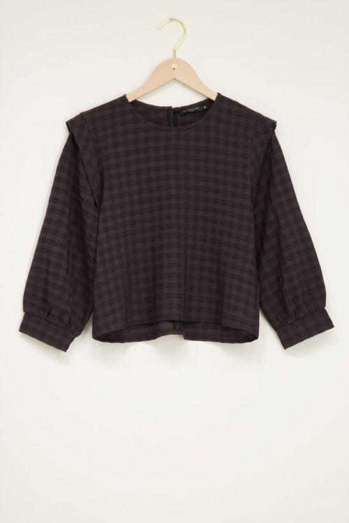 zwarte blouse top met ruitmotief