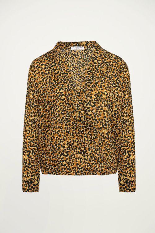 Bruine overslag blouse luipaard, blouse met print