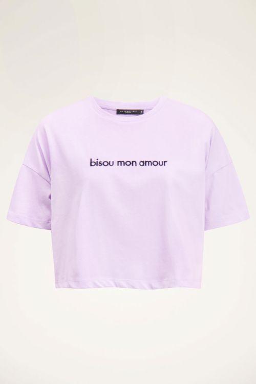 Lilac crop bisou T-Shirt | My Jewellery