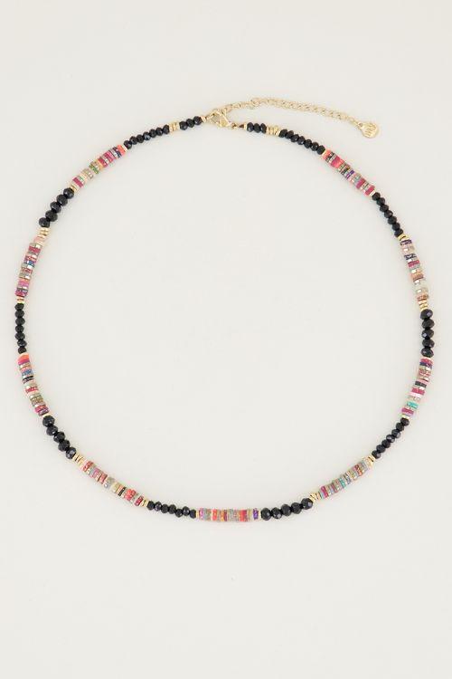 Ketting glitter & zwarte kralen, zwarte kralen ketting