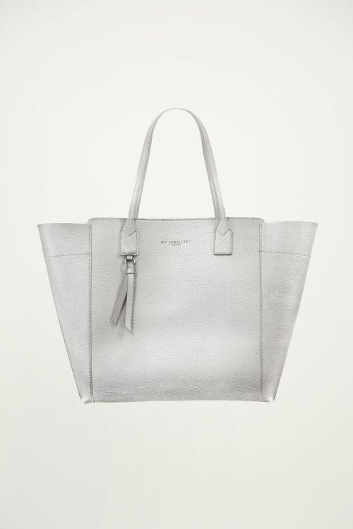 Zilveren shopper pu leer, grote tas
