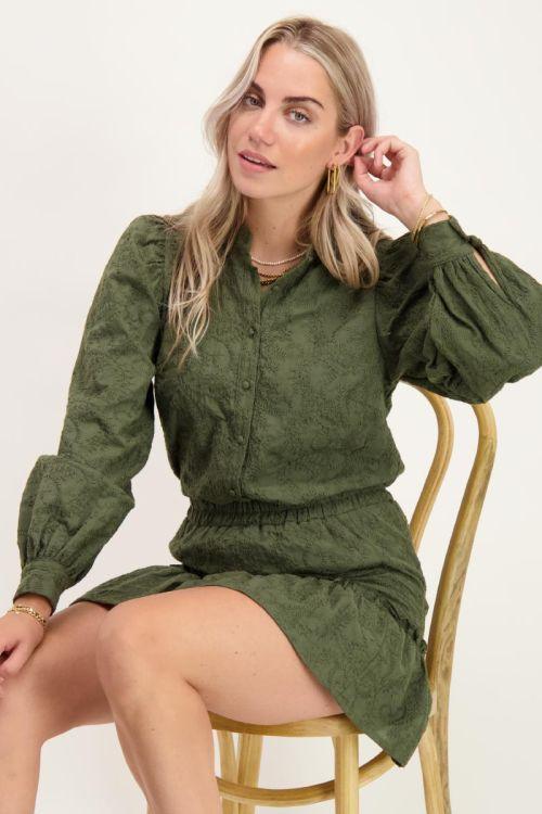 Donkergroene blouse met embroidery