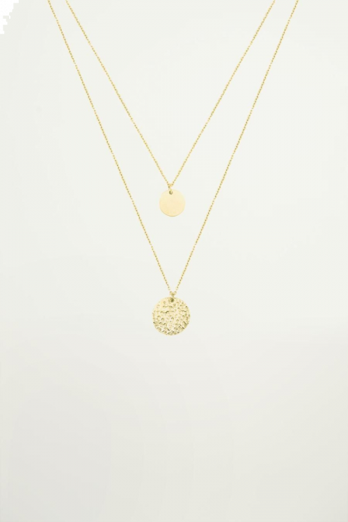 Double layered necklace with coins, necklace with pendants
