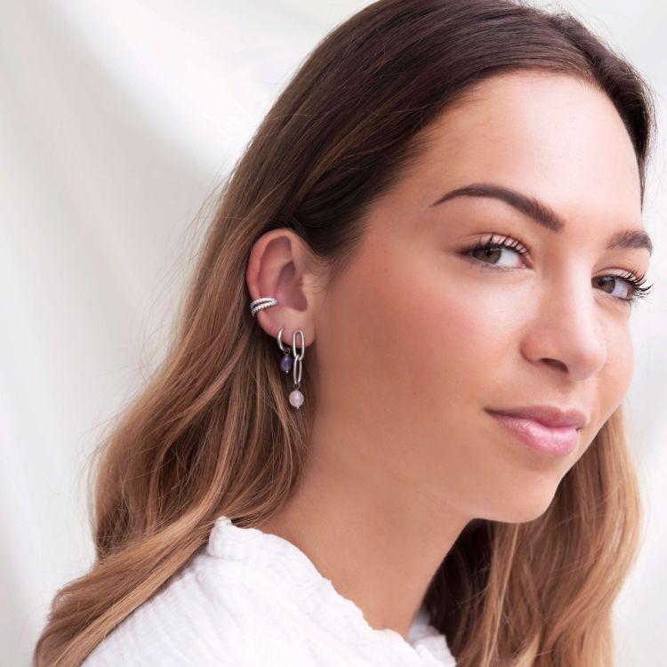 Ear cuff dubbele ring strass, nep piercing
