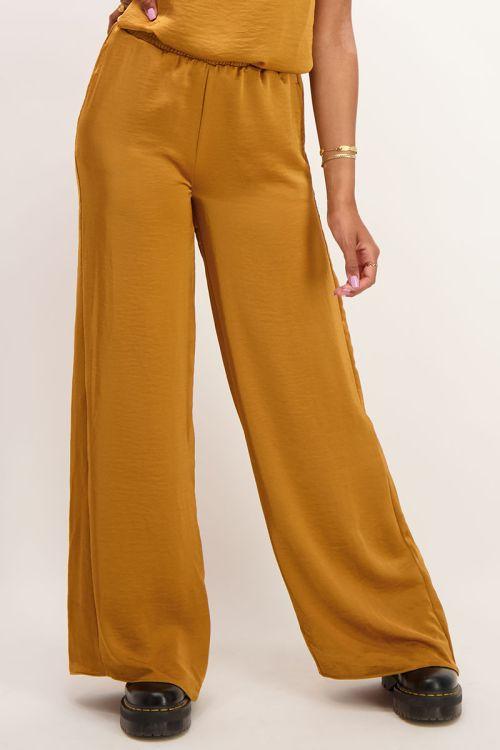 Gele broek satijnen look| Broeken | My Jewellery
