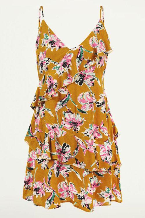 Gele jurk met spaghettibandjes en bloemenprint, ruffle jurkje