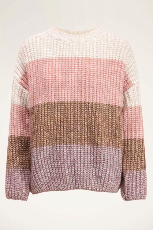 Roze trui met strepen | My Jewellery