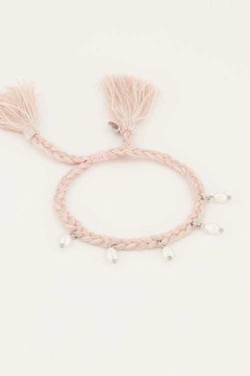 Gevlochten armband/enkelbandje met parels