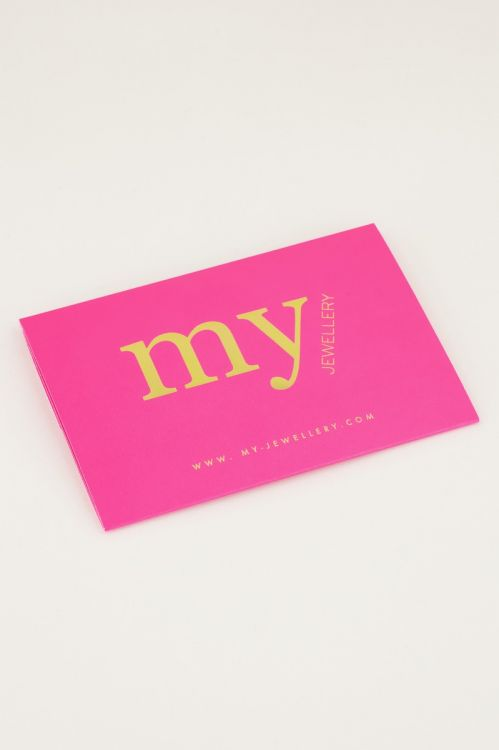 Neon roze giftcard holder, cadeaukaart My Jewellery