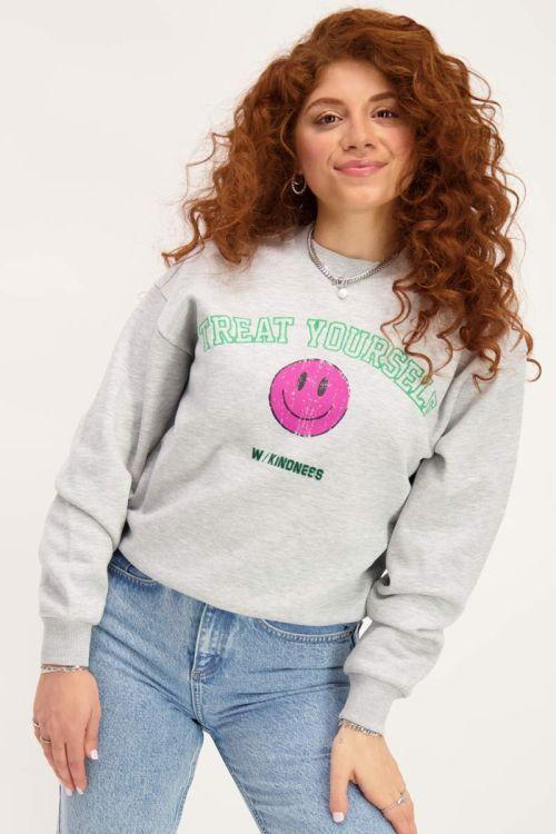 Grijze sweater smiley print