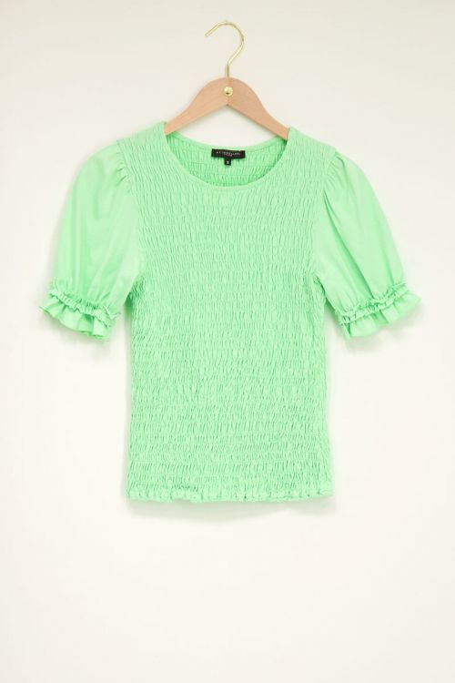 Groene smock top met ruffle pofmouw