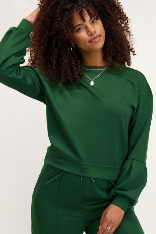 Groene sweater met ballonmouwen   My Jewellery