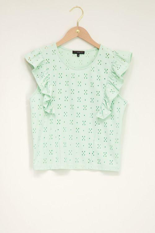 Groene top met embroidery