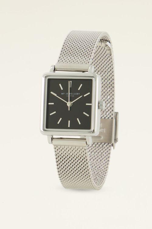 Horloge zwarte vierkante wijzerplaat