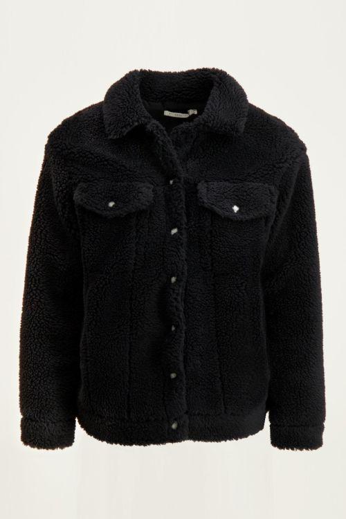 Zwarte oversized teddy jas, zwarte jas My Jewellery