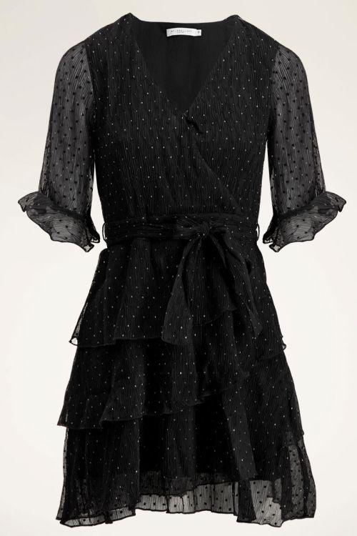 Overslagjurk plooien & stippen   Zwart jurkje My jewellery