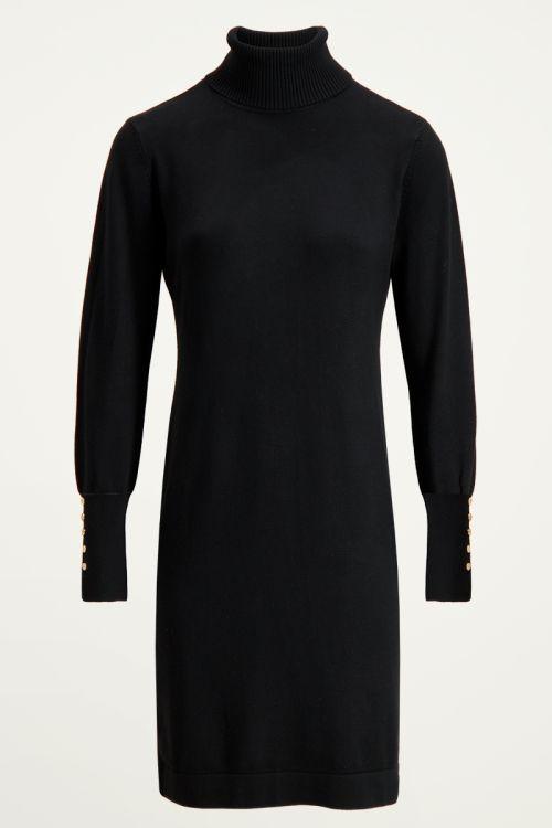 Zwarte jurk My Jewellery knoopjes | Jurk met knoopjes My Jewellery