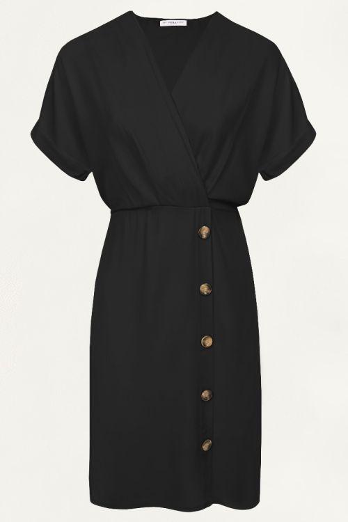 Zwarte midi jurk met knopen, middellange jurk My Jewellery