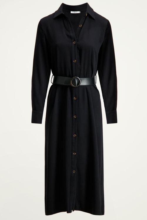 Blousejurk met taille riem   Maxi jurk Zwarte lange jurk My Jewellery