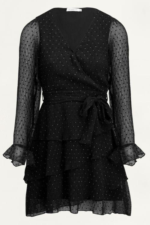 Geplooide overslagjurk met stippen   Zwart jurkje My Jewellery