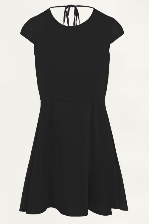 Zwarte jurk met open rug, Zomerjurkje