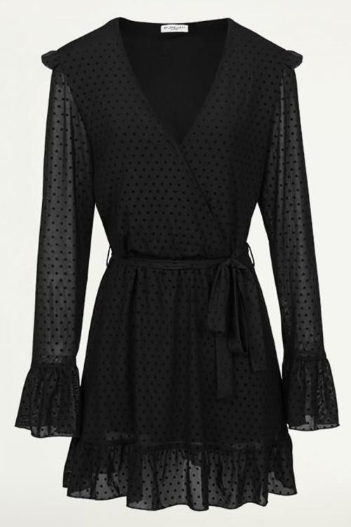Zwarte Mesh Jurk Met Stippen, little black dress