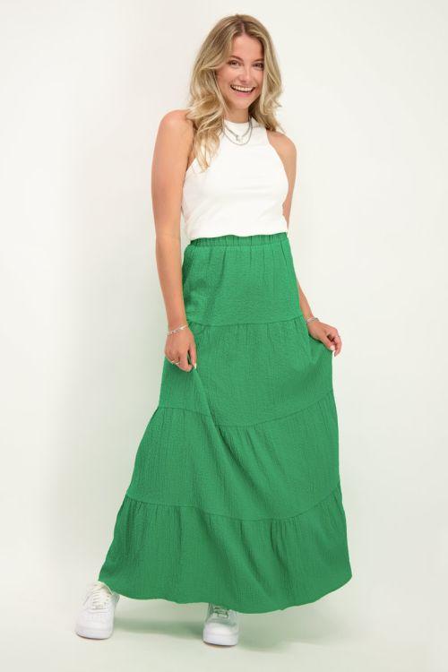 Groene lange rok met lagen