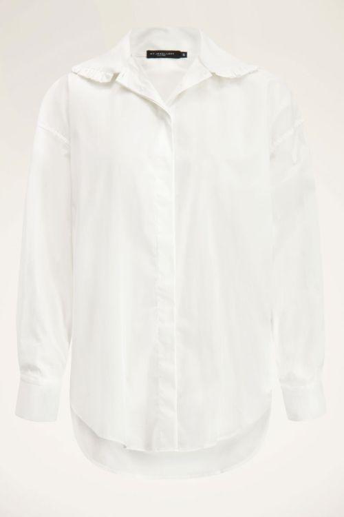 Witte blouse met ruffle kraag   My Jewellery