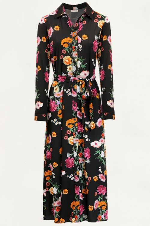 Lange blousejurk bloemen, bloemenjurk