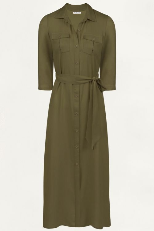 Kaki blousejurk 3/4 mouw, lange jurk