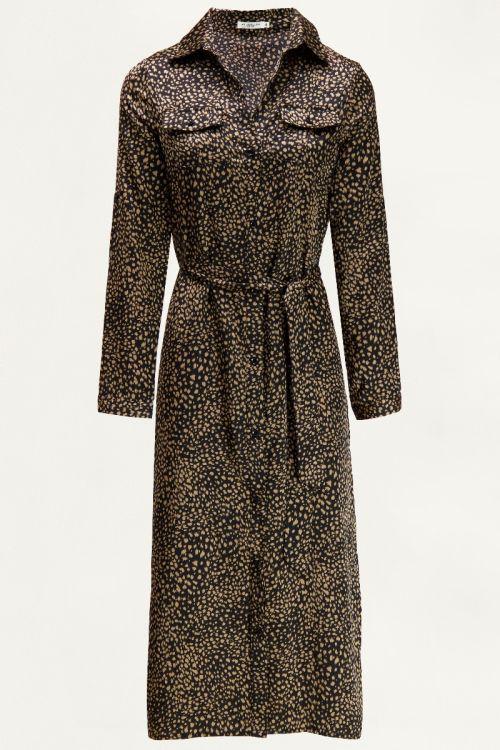 Satijnen blousejurk met print, lange jurk