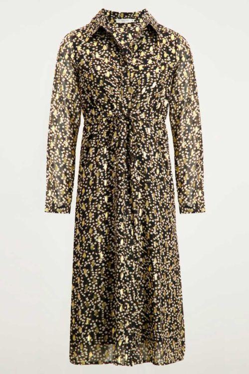 Blousejurk bloemen & gouden stippen, maxi jurk My Jewellery