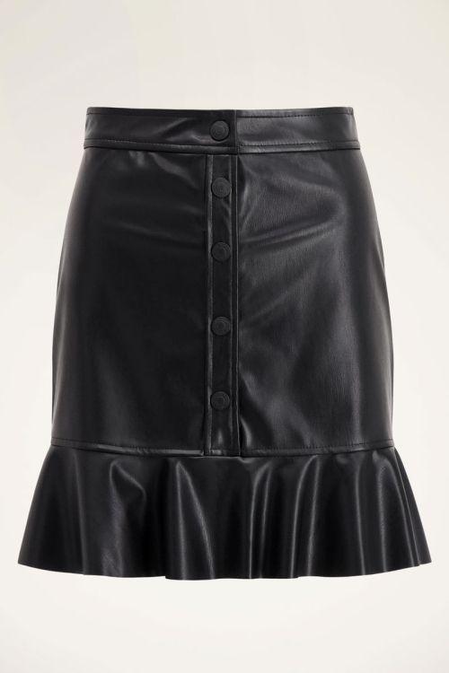 Zwart leatherlook rokje met ruffle | My Jewellery