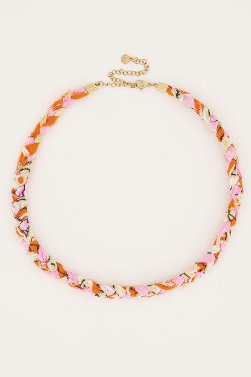Lichtroze ketting sunrocks gevlochten   My Jewellery