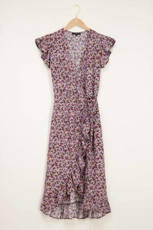 Paarse midi jurk met lila & oranje bloemen