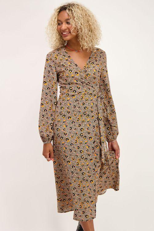 Midi jurk met multikleur luipaard print | Jurken | My Jewellery