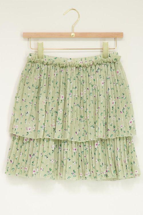 Mintgroene lagen rok met plissé