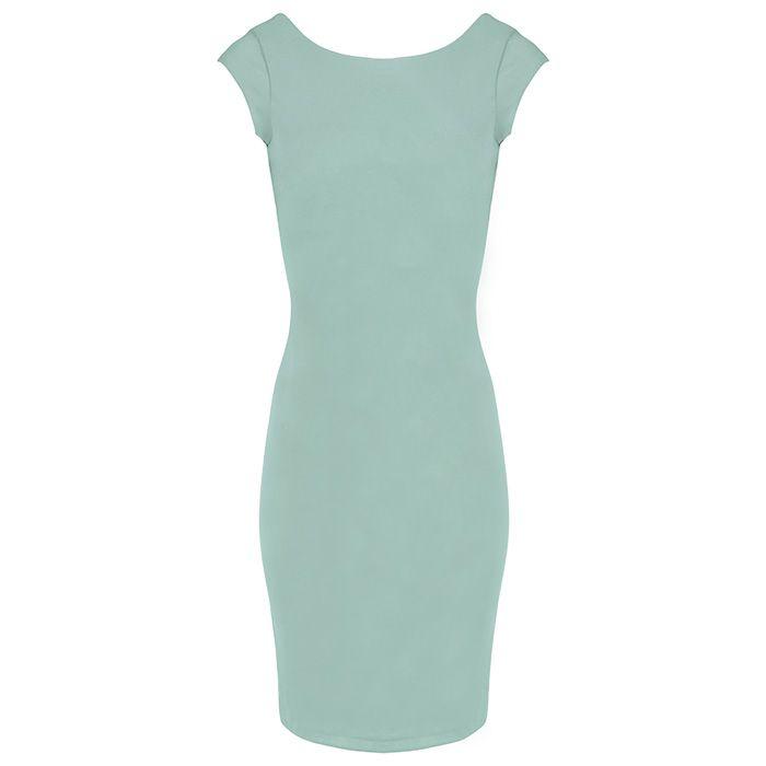 Basic jurk petrol strak, Midi jurk