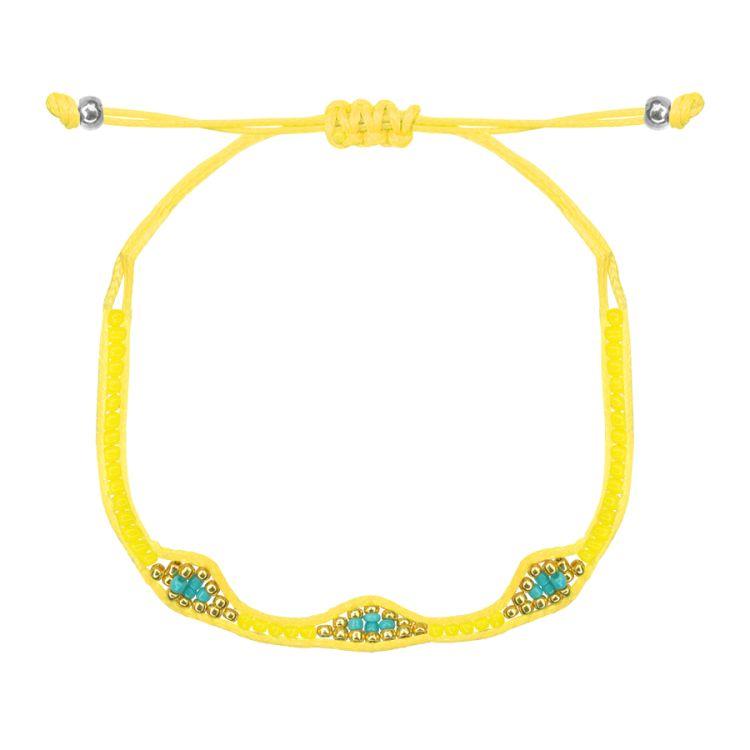 Gele armband kralen&ruitjes, kralen armbandje My Jewellery