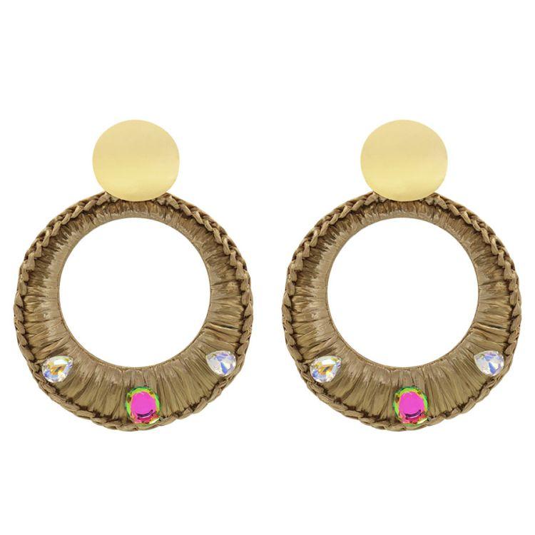Oorhangers riet & steentjes My Jewellery