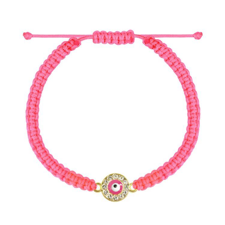 Roze touwarmbandje oogje, roze armbandje My Jewellery