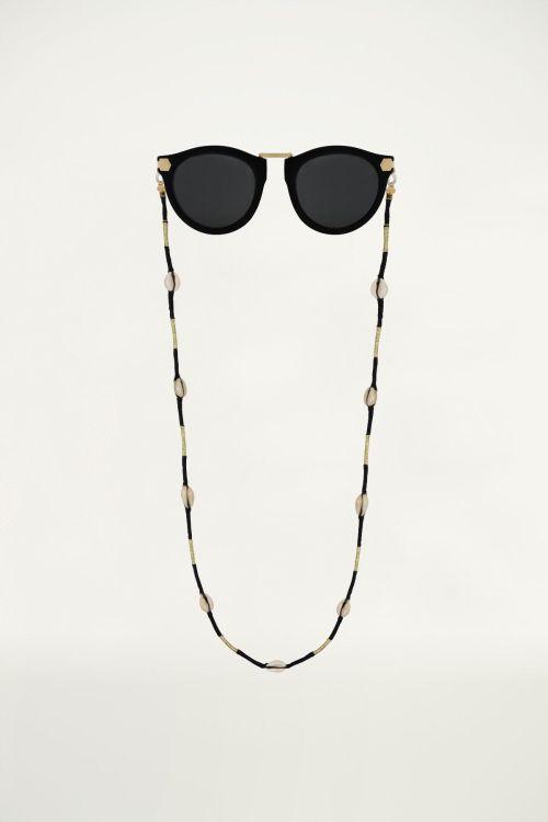 Zwart zonnebrilkoord touw & schelp, zonnebrilkoordje My Jewellery