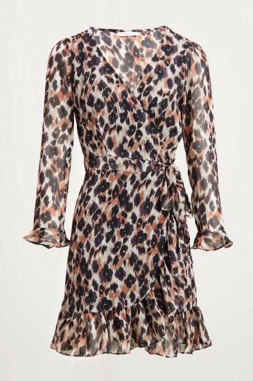Overslag jurk luipaard & mesh, jurk met leopard print
