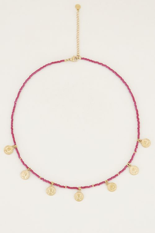 Necklace with red beads and coins, necklace with coins My Jewellery