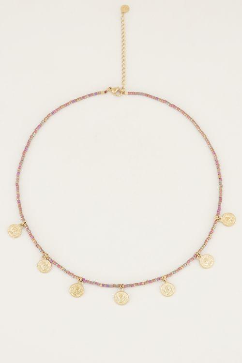 Ketting multikleur kraaltjes en muntjes, kralen ketting My Jewellery