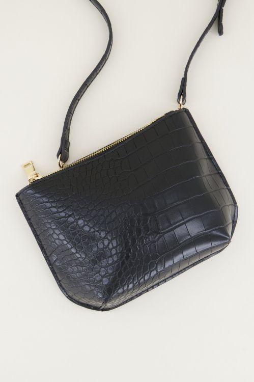Black shoulder bag with snake print   black shoulder bag My Jewellery