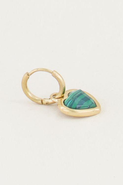 One piece oorring malachite, oorbel met edelsteen My Jewellery