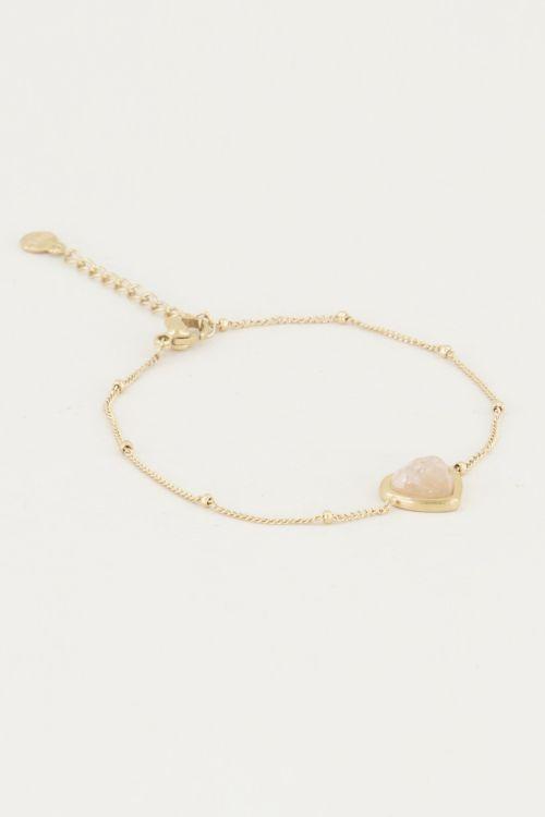 Armband Rose Quartz hartje, armband met edelsteen