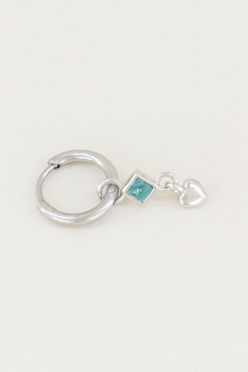 One piece oorring malachite & hart, oorbel met edelsteen My Jewellery