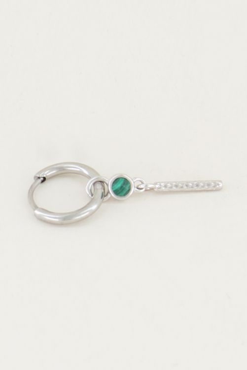 One piece oorring malachite & staafje, malachiet oorbel